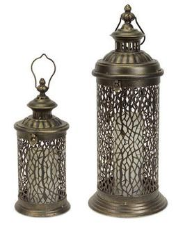 Set of 2 Brushed Antique Brass Pillar Candle Holder Lanterns