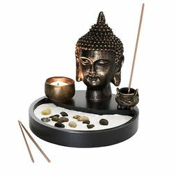 Buddha Head Statue Tabletop Zen Garden Kit with Incense Burn