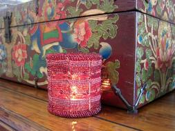 BURGUNDY RED BEADED VOTIVE CANDLE HOLDER, Discontinued Style