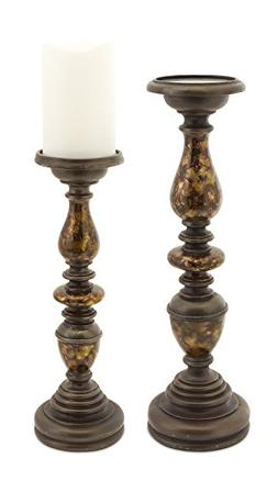 Candle Holder with Marble Detail Set of 2 -12 Inches High an