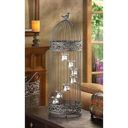 CANDLE HOLDER: Birdcage Design Black Spiral Staircase Tealig