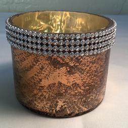 Candle Holder Gold Mercury Glass Beaded HG Global Hosley Ind