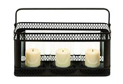 Benzara Candle Holder with Solid Construction, Black Finish