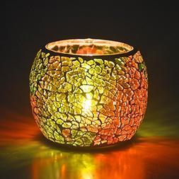 Loving5 Candle Holder/Mosaic Handmade Glass Votive Tealight