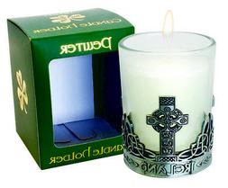 Candle Holder Pewter Celtic Cross Candle Included Vanilla Sc