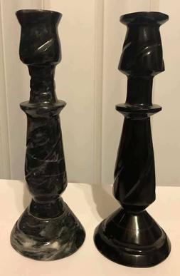 Candle Holder Set of 2 Carved Banded Beautiful Black Onyx Ma