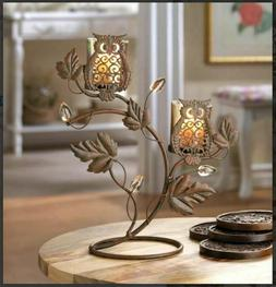 Candle Holder Stands w/ 2 Wise Owl Duo on Vine & Leaf Votive