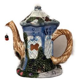 Candle Holder Teapot Ceramic House Butterfly Blue Home Decor