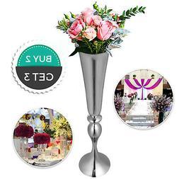 Candle Holder Vase Wedding Flower Vase 3pcs Silver Centerpie