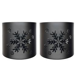 Tea Light Votive Wraps Decorative Black Metal Snowflat Candl