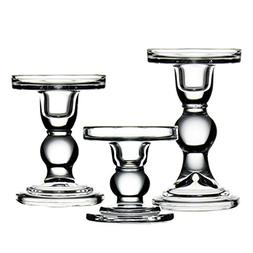"CYS EXCEL Glass Candle Holders for 3"" Pillar or 3/4"" Taper C"