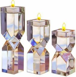 Amazing Home Large Crystal Candle Holders Set of 3, 4.6/6.2/