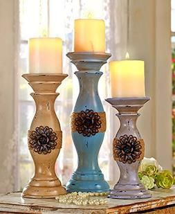 Set of 3 Candleholders Vintage Inspired Chic Distressed Anti