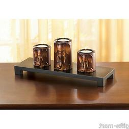 Carved wood ELEPHANT tea-light Candle holder statue long tab