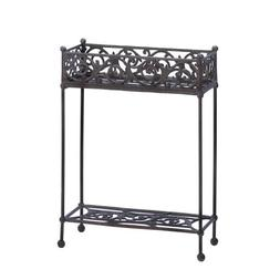Cast Iron Rectangle Slender Two Tier Plant Stand Shelf