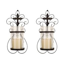 FrameArmy Cast Iron Vertical Wall Hanging Accents Candle Hol