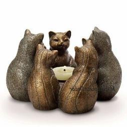 Cats Kittens Circle Of Gathering Candle Holder Figurine Kitt