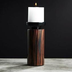 CB2/Crate & Barrel Modern Wooden Pillar Candle Holder