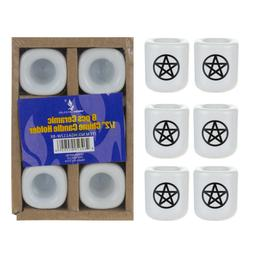 Mega Candles - 6 pcs Ceramic Black Pentacle Chime Ritual Spe