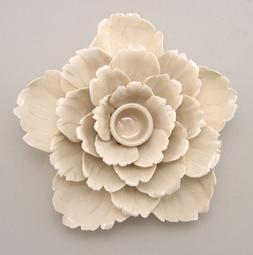 Ceramic Flower Shape Ivory Color Candle Holder Taper Candle