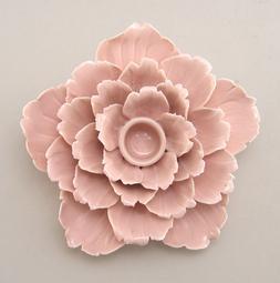 Ceramic Flower Shape Pink Color Candle Holder Taper Candle