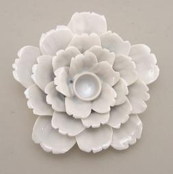 Ceramic Flower Shape White Color Candle Holder Taper Candle