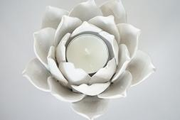 Pretty Home Ceramic Lotus Petals Style Flower Candle holder