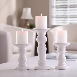 Better Homes and Gardens Ceramic Pillar White Candle Holders