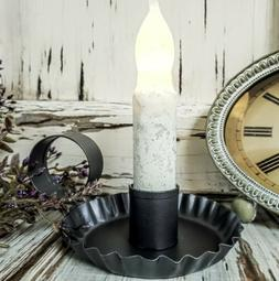 Chamberstick Taper Candle Holder Smokey Black - Antique Farm