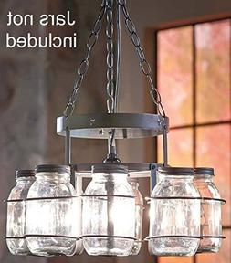Chandelier Country Decor Wrought Iron Frame Hanging Chain De