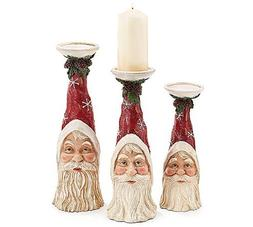 christmas holiday santa candleholder set