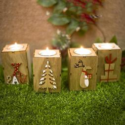 Christmas Mini Wooden Candlestick Ornaments Party House Xmas
