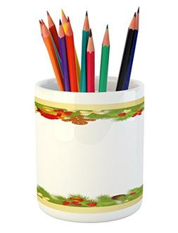 Christmas Pencil Pen Holder by Ambesonne, Evergreen Tree Lea