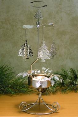 Christmas Tree Candle Holder - Spinning Candle with Laser Cu