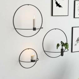 Circle Candle Holder Wall-Mounted Europe Metal Candlestick G