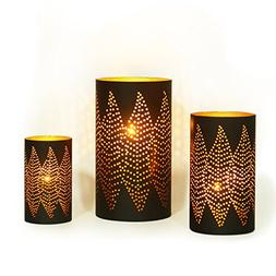 Adeco Classic Oriental Style Diamond Pattern Metal Candle Ho