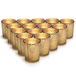Granrosi Gold Mercury Votive Candle Holder Set of 15 - Made