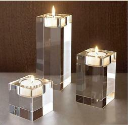 Clear Cube Crystal Glass Candle Holder Tea Light Stand Candl
