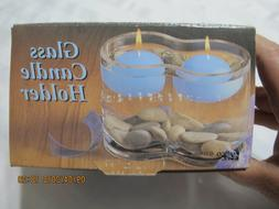 """Clear Glass 4.5"""" Floating Candle Holder With Stones And Cand"""
