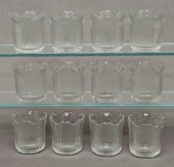 Clear Glass Votive Candle Holder Tea Light Tulip Shape 2.25""