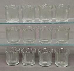 "Clear Glass Votive Candle Holder Tea Light Tulip Shape 2.25"""