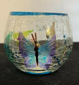 Yankee Candle Co BUTTERFLY CRACKLE Glass Barrel Votive Tea C