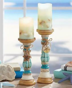 COASTAL SEASIDE THEMED CARVED LOOK CANDLEHOLDERS and/or LED