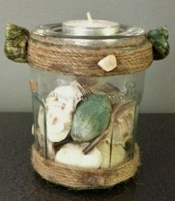 Coastal Tea Light Candle Holder Jar Sea Shells Beach Nautica