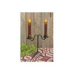Colonial Double Taper Candle Holder in Black Wrought Iron