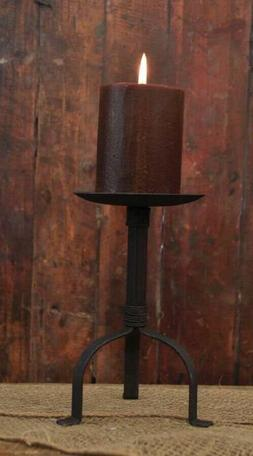 """Colonial Pillar Candle Holder in Black Wrought Iron, 8"""" Tall"""