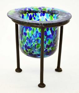 CONFETTI FOREST COLOR GLASS VOTIVE HOLDER WITH WROUGHT IRON