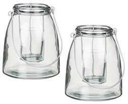 Sullivans Set of 2 Contemporary Clear Glass Candleholder Jar