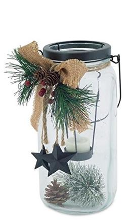 "Melrose 9.75"" Country Cabin Glass Jar with Dangling Star Acc"