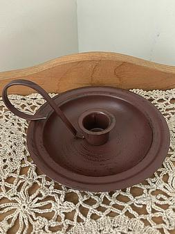 County Primitive Burgundy Metal Taper Candle Holder